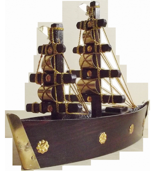 Wooden Hand Craft Brass Boat Big