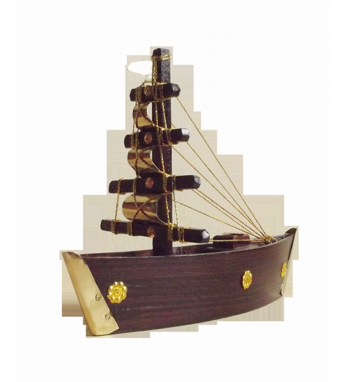 Wooden Decorative Brass Boat Small